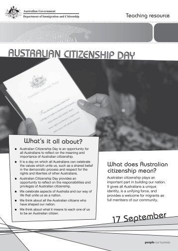 Australian Citizenship Day - Secondary Teaching Resource - Black