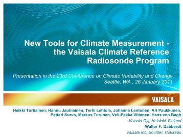 New Tools for Climate Measurement - Vaisala
