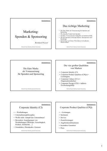 Marketing: Spenden & Sponsoring - Landentwicklung