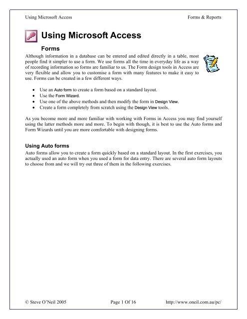 Using Microsoft Access - Forms & Reports - oneil com au