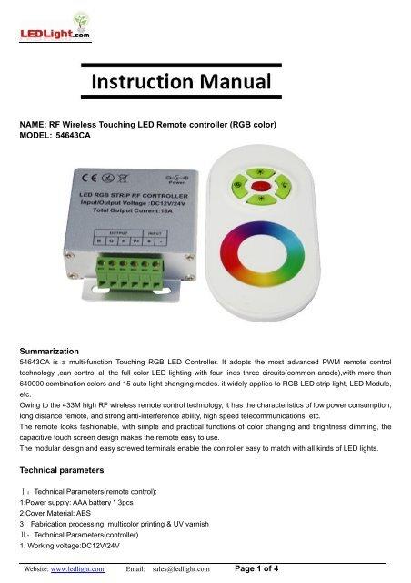 Rf Wireless Touching Led Remote Controller Ledlight Com