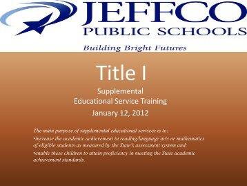 Jefferson County Public Schools Title I - JEFFCO Public Schools