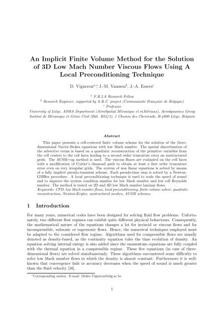 An Implicit Finite Volume Method for the Solution of 3D Low
