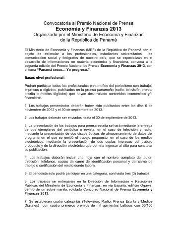 Economía y Finanzas 2013 - Ministerio de Economía y Finanzas