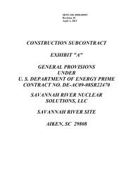 Construction Subcontract General Provisions - Savannah River Site