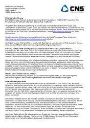 Datenschutzerklärung - CNS Computer Network Systemengineering ...
