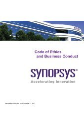 Code of Ethics and Business Conduct - Synopsys