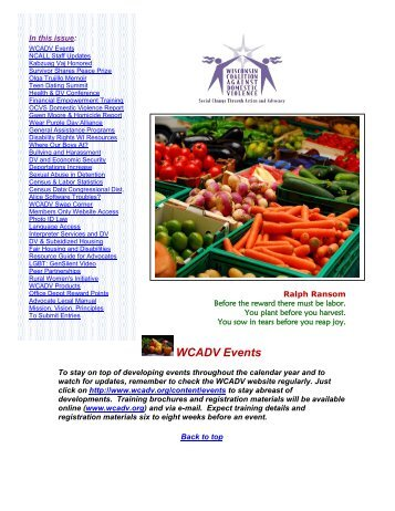 WCADV Events - Wisconsin Coalition Against Domestic Violence