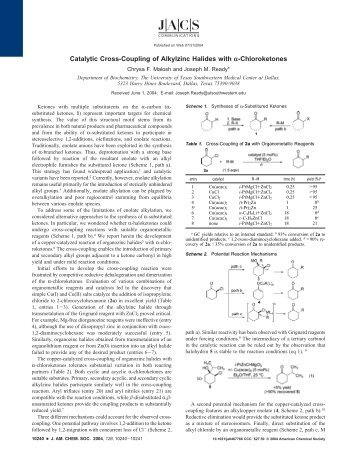 Catalytic Cross-Coupling of Alkylzinc Halides ... - UT Southwestern