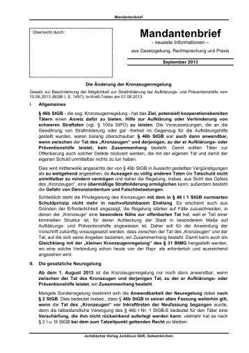 Mandantenbrief 09/2013 - Juridicus
