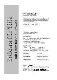 Preisblatt Grundversorgung 2007 - Stadtwerke Bad Tölz
