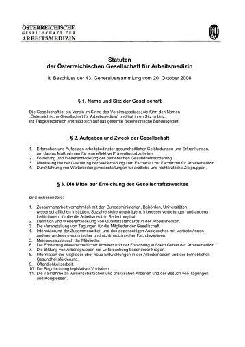 Statuten der Österreichischen Gesellschaft für Arbeitsmedizin
