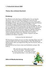 1. Frühschicht Advent 2009 Thema: Das schönste Geschenk ...