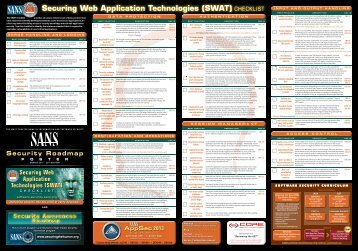 Securing Web Application Technologies (SWAT) CHECKLIST