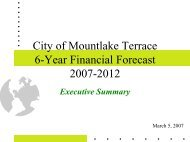 6-Year Financial Forecast - Executive Summary - City of Mountlake ...