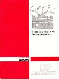 Tonbandmaschine ATOO Gebrauchsanleitung - Revoxsammler
