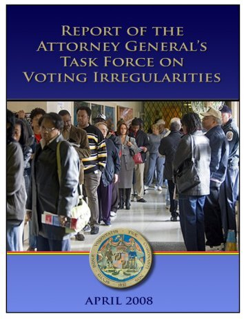 Report of the Attorney General's Task Force on Voting Irregularities