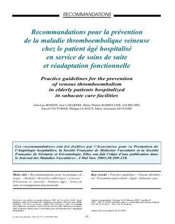 Recommandations pour la prévention de la maladie ...