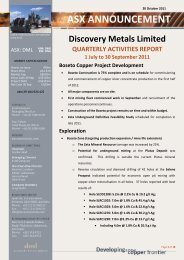 Quarterly Activities Report - 1 July to 30 September 2011 - Discovery ...