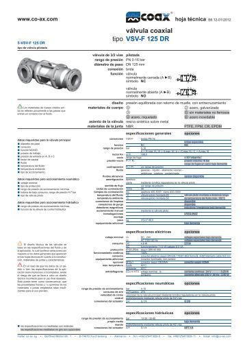 tipo válvula coaxial VSV-F 125 DR - müller co-ax ag