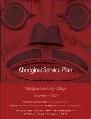 Aboriginal Service Plan - Vancouver Island University