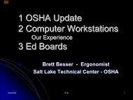 OSHA Update Computer Workstation Sucess Story - Brett Besser
