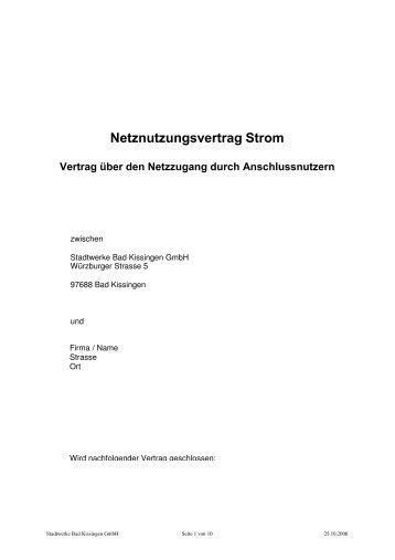 Netznutzungvertrag Strom - Stadtwerke Bad Kissingen