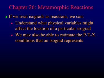 Chapter 26 - Metamorphic Reactions - Faculty web pages