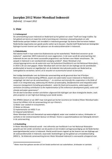 Jaarplan Indonesië 2012 - Partners voor Water