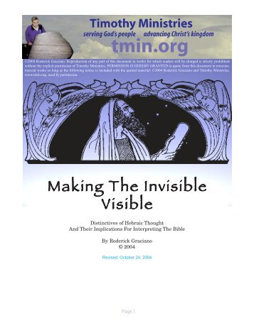 Making The Invisible Visible - Timothy Ministries