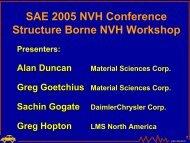 SAE 2005 NVH Conference Structure Borne NVH Workshop