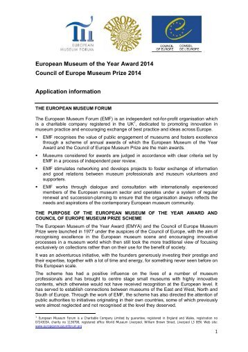 European Museum of the Year Award 2014 Council of ... - ICOM