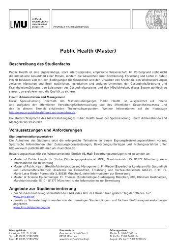 Public Health (Master) - LMU München