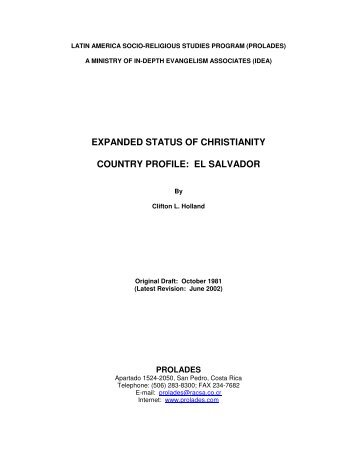 STATUS OF CHRISTIANITY PROFILE: EL SALVADOR - Prolades.com