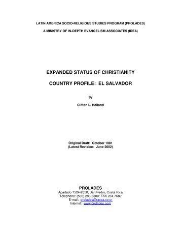STATUS OF CHRISTIANITY PROFILE: EL SALVADOR - Prolades.com