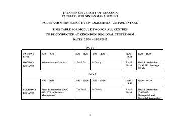 MODULE 2 TIMETABLE FOR PGDBS AND MHRM EXECUTIVE 2013