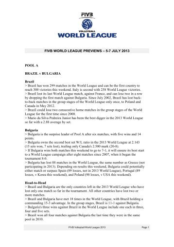 Statistical Preview - FIVB