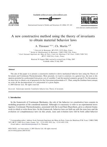 A new constructive method using the theory of invariants to obtain ...