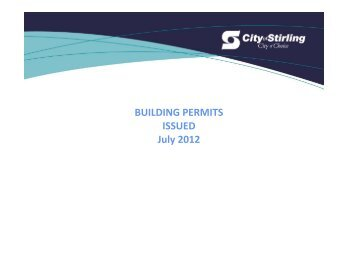 BUILDING PERMITS ISSUED July 2012