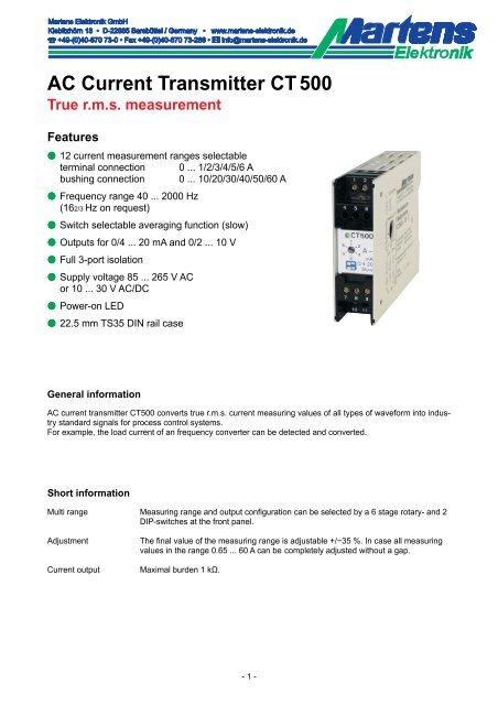 CT500-00- Prospekt - Martens Elektronik GmbH