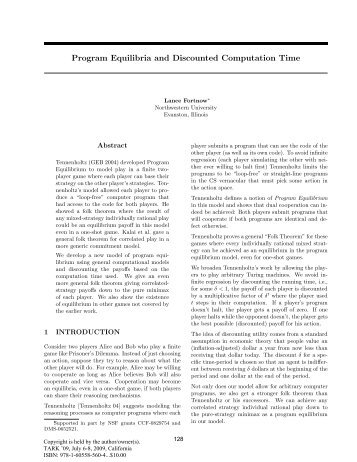 Program equilibria and discounted computation time