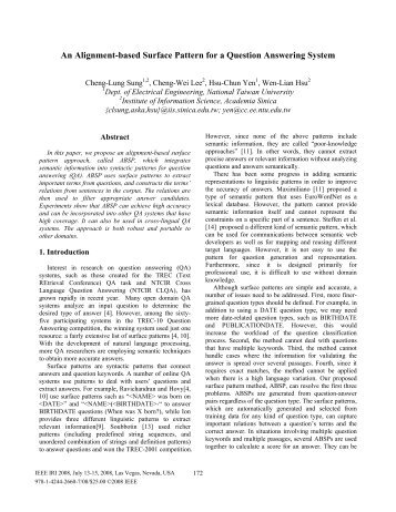 An Alignment-based Surface Pattern for a ... - Academia Sinica