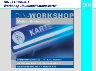 "DIN - FOCUS-ICT Workshop ""Multiapplikationskarte"" - NASG"