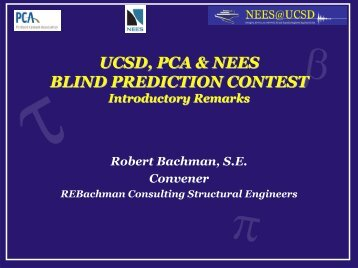 UCSD, PCA & NEES BLIND PREDICTION CONTEST