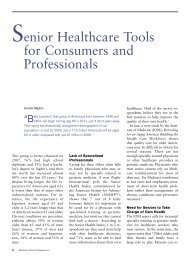 Senior Healthcare Tools for Consumers and Professionals