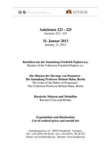 Auktionen 223 - 225 31. Januar 2013 - Fritz Rudolf Künker