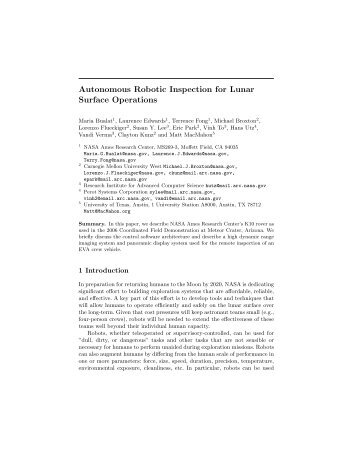 Autonomous Robotic Inspection for Lunar Surface Operations