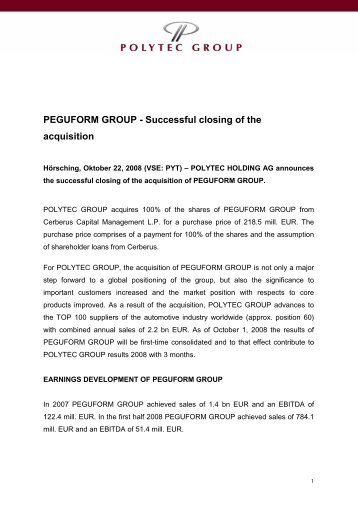 PEGUFORM GROUP - Successful closing of the acquisition - polytec