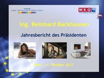 Vortrag Ing. Reinhard Backhausen - Die Textilindustrie