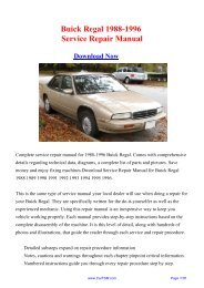 1988-1996 Buick Regal Factory Repair Manual